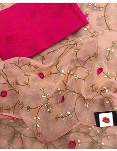 Pure organza saree with beautiful Gotta work/ saree for women/ indian saree/ designer saree/ wedding saree/ sarees/ saree blouse/ sari Organza Saree, Chiffon Saree, Saree Dress, Floral Chiffon, Embroidery Suits, Indian Embroidery, Hand Embroidery, Embroidery Stitches, Embroidery Designs