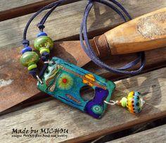 Copper Enamel Art Necklace enameled copper by MichouJewelry