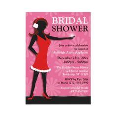 Winter Girl Red Dress Pink Bridal Shower Custom Invitations by starzraven