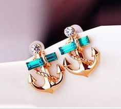 Fashion Rhinestone Anchor EarringS from LOOBACK