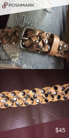 SAM BROWN belt Leather braided belt with studs... Measures 46 inches and can be  worn any length as there are no holes... SAM BROWN Accessories Belts