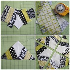 She likes black and white fabrics with swirls and flourishes.  Avoid light greens as seen here.  Insert turquoise, aqua greens and purples.  quilt block tute - spiderweb block on sew mama sew