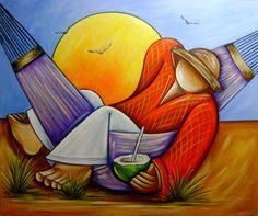 Pintura em tela 100X1.20 COD 274 Acrylic Painting Canvas, Canvas Art, Modern Art, Contemporary Art, Primitive Painting, Fantasy Paintings, Arte Pop, Naive Art, Beach Art