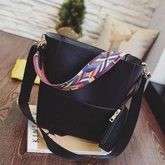 12de561b32 2016 New Sandy bucket handbag with colored fabric bag strap pu leather good  quality shoulder bag