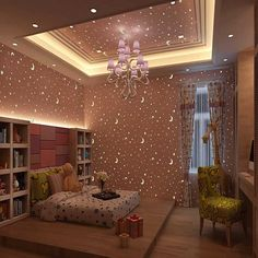 Luminous Wallpapers Roll Stars And The Moon Boys And Girls Children's Room Bedroom Ceiling Fluorescent Wallpaper Home Deco Bedroom Ceiling, Home Decor Bedroom, Baby Bedroom, Bedroom Boys, Girl Bedrooms, Glitter Bedroom, Glitter Wallpaper Bedroom, Wallpaper Design For Bedroom, Glitter Walls
