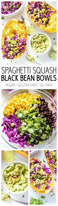 Spaghetti Squash Black Bean Bowls. Get your low-carb chipotle bowl fix with these crazy healthy (and delish!) bowls that are vegan, gluten free and oil free. A must-try!!! #spaghetti #squash #vegan #chipotle #bowls