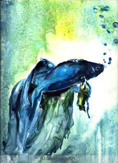 Watercolor Betta Fish Blue beta fish watercolor