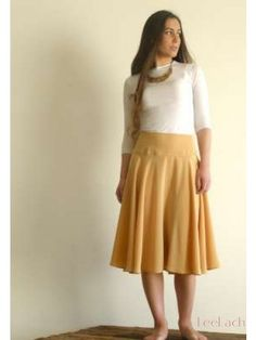 light orange modest skirt