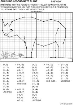 FREE Math Graphing Lesson~ Connect the points to create a picture. Scroll down to sixth picture. Lots of other fun lessons, too!