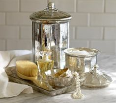 Evleen Mercury Glass Bath Accessories | Pottery Barn