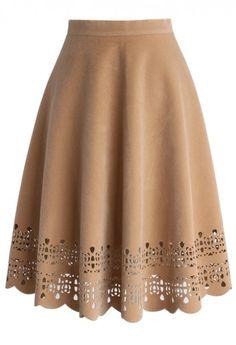 Faux Suede Scrolled Hem Cutout A-line Midi Skirt