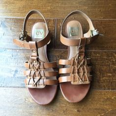 """Dolce Vita Sandals Super cute camel-colored sandals with a 1.5"""" platform. They're a half size too big for me. Only worn twice. Still great condition, though the bottoms looks more worn than they are (probably because it's yellow!) Dolce Vita Shoes Sandals"""