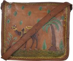 Bulk Wholesale Handmade Brown Color Messenger Bag in Genuine Leather with a Flap – Adorned with Camel & Coconut Tree Motif – Cross Body / Sling Handbags
