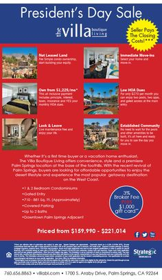BROKERS!  Palm Springs Condos from $160,000's, Seller Pays Closing Costs* Plus Broker Commission.  President's Day Sale at The Villa Boutique Living   www.villabl.com/