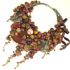 Celebration of Beaujolais. Handmade Necklace made of natural stones