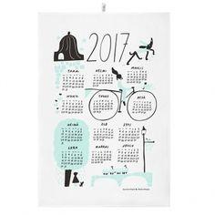 Kauniste's Calendar 2017 tea towel, mint