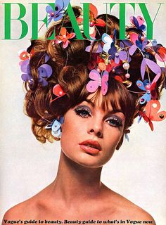 Model:Jean Shrimpton with a hairstyle created by Alexandre, Paris.Vogue Beauty, May 1966.