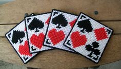 Plastic Canvas Playing Card Coasters - Hand Stitched playing cards red black white heart spade diamond clover coaster set home decor game room plastic canvas 8.00 USD #goriani