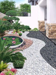 Rock Garden Design, Backyard Garden Design, Small Garden Design, Backyard Patio, Small Garden Stone Ideas, Garden Ideas With Stones, Backyard Designs, Small Front Yard Landscaping, Stone Landscaping