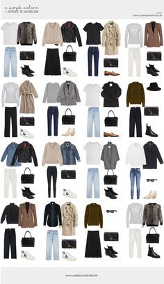 A simple autumn capsule wardrobe - Style - Fashion Outfits Capsule Wardrobe Women, French Capsule Wardrobe, Capsule Outfits, Fashion Capsule, Mode Outfits, Fall Wardrobe, Fashion Outfits, Simple Wardrobe, Staple Wardrobe Pieces