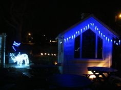 "The second chicken coup turned ""Garden Chapel"" with blue ice cycles and ChrisMoose. (Prospect Valley Hospitality renovated historic 1872 property, Wheat Ridge, Colorado, USA)"
