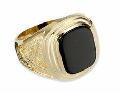Large 14k Gold Black Onyx Men's Ring