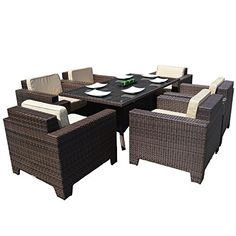 Cambridge Outdoor Rattan 6 Chair Rectangular Table Dining Set in Brown