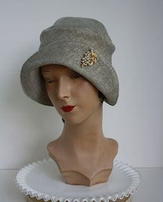 light blue asymmetrical round brim cloche with by HautePoppy, $39.00