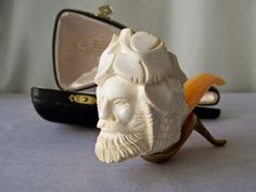 Vintage Meerschaum Pipe Hand Carved Golden Horn by cynthiasattic, $125.00