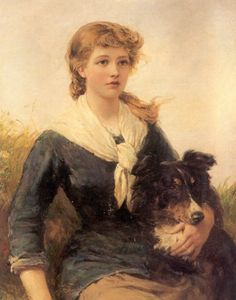 The good companion, girl and her collie. Heywood Hardy