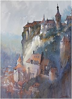 Fading Light -Rocamadour; France by Thomas W. Schaller Watercolor ~ 30 inches x 22 inches