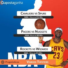 A noite de sabado sem NBA não é o mesmo. Confiram nossa seleção de prognósticos:  http://www.apostaganha.com/2016/01/30/prognostico-apostas-cavaliers-vs-spurs-nba-7654554/  http://www.apostaganha.com/2016/01/30/prognostico-apostas-pacers-vs-nuggets-nba-763554/  http://www.apostaganha.com/2016/01/30/prognostico-apostas-pacers-vs-nuggets-nba-754554/  http://www.apostaganha.com/2016/01/30/prognostico-apostas-rockets-vs-wizards-nba-74554…