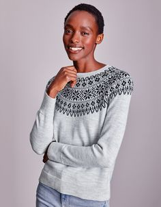 Wool Sparkle Fair Isle Jumper | New In Clothing | The White Company UK Jumper Outfit, The White Company, Metallic Thread, Jumpers, Clothes For Sale, Knit Dress, Merino Wool, Sparkle, Pullover