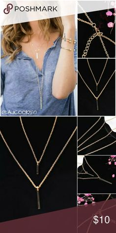 💞2 for $15💞Double Layer Drop Bar Necklace Simple and chic double layer drop necklace with bar pendants.  Material: Gold Alloy 💕Mix and match any $10 Jewelry, 2 for $15💕 (Use the bundle offer feature for 2 different jewelry if you want 2 under the same listing let me know and I will make you a special bundle.) *Not eligible for bundle discount* Jewelry Necklaces