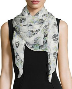 Ramage Floral Skull Silk Scarf, Ivory/Blue by Alexander McQueen at Neiman Marcus.