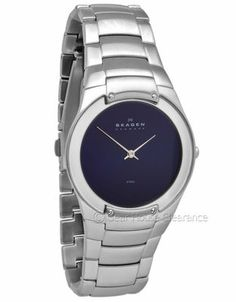 Skagen Denmark Mens Watch (NEW) Steel Band, Blue Dial w/ Mirror Ring, $145msrp