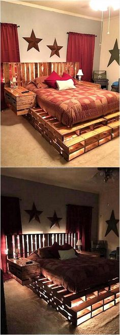 A person who loves to spend time creating innovative things can plan to make a pallet bed, it not only looks great because of unique idea; but is comfortable just like the other types of bed. Nothing else than the reclaimed shipping pallets are required t