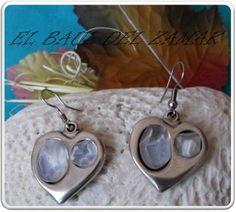 474d936ccf8c Pendientes Zamak Corazón con piedras resina aguas blancas de color Blanco