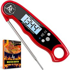 Digital Meat Thermometer - Best Waterproof Instant Read Thermometer with Calibration and Backlight functions (Red) Infrared Thermometer, Digital Thermometer, Bbq Grill, Grilling, Center Cut Pork Chops, Oreo Milkshake, Pork Chop Dinner, Peppercorn Sauce, Buy Kitchen