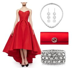 A fashion look from August 2015 featuring red evening gowns, evening clutches and cuff bracelet. Browse and shop related looks. Zac Posen, Personal Style, Gucci, Glamour, Polyvore, Stuff To Buy, Shopping, Collection, Dresses