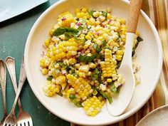 Fresh Corn Salad recipe from Ina Garten via Food Network delicious summer recipes ; Veggie Dishes, Food Dishes, Side Dishes, Tasty Dishes, Main Dishes, Corn Salad Recipes, Corn Salads, Fresh Corn Recipes, Corn Salad Recipe Easy