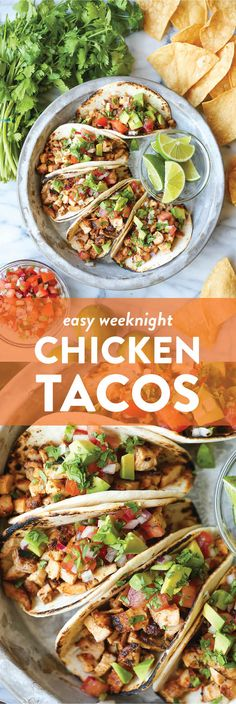 Easy Chicken Tacos : Easy Chicken Tacos - Damn Delicious With a simple spice rub, the chicken is cooked so quickly on the stovetop! Dice into small pieces and serve with pico, avocado + lime! Chicken Taco Recipes, Mexican Food Recipes, Dinner Recipes, Taco Chicken, Lime Recipes, Chicken Salad, Pasta Recipes, Salad Recipes, Dinner Ideas
