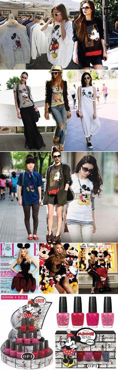 mickey, mickey mouse, minnie, esmalte, opi, tendência, trend, look, tee, tshirt, camisa, camiseta, renner, disney, disney store, asos, elle