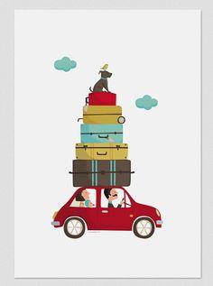 Illustratión.The weekenders. Imprimer. Art par Tutticonfetti