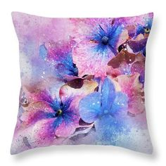 Purple and Blue Floral Throw Pillow, Home Decor, Decorative Cushion, Throw Pillow Covers, Decorative Pillow Covers, Gift for Her. Flowers