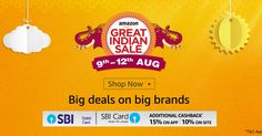 "Best Selling and Popular 65 deals selected from all categories in ""Great Indian Sale of Amazon""  Best Selling and Popular Collection presented by EndlessTechs  The Great Indian Sale by Amazon India  Big Deals on Big Brands  Big Savings  Here are best selected 65 deals from Great Indian Sale of Amazon India -  Laptops Up to 20% off  TV - Up to 45% of  Speakers Up to 50% off  Routers Up to 60% off  Storage Devices Up to 50% off  Wearable Devices Up to 40% off  Headphones Up to 60% off…"