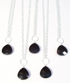 Black Teardrop Bridesmaids Necklaces Teardrop Necklace by bonitaj, $30.00