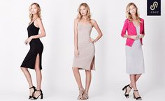 LE3NO Womens Fitted Stretchy Sleeveless Bodycon Midi Slip Dress with High Slit at Amazon Women's Clothing store: Women's Dresses, Amazon, Store, Clothing, Clothes, Amazons, Tent, Riding Habit, Amazon River
