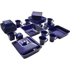 Blue Dinnerware Set Square 45 Piece Dinner Plates Cups Dishes Kitchen Banquet for sale online Square Dish Sets, Square Dinner Sets, Blue Dinnerware Sets, Square Dinnerware Set, Porcelain Dinnerware, Modern Dinnerware, Dining Plates, Purple Kitchen, Kitchen Dishes