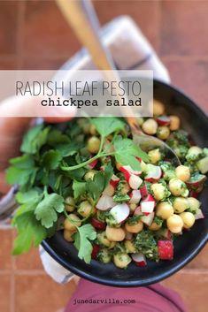 Radish Leaf Pesto & Chickpea Salad